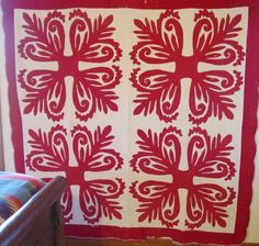 Hawaiian Red and White Quilt