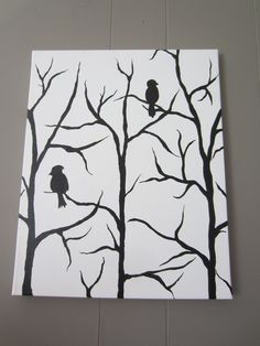 16x20 black and white bird on a tree branch acrylic painting. $40.00, via Etsy.