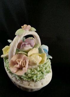 VINTAGE LENWILE CHINA ARDALT JAPAN VERITHIN FLORAL BASKET BOX Trinket in Antiques, Decorative Arts, Ceramics & Porcelain | eBay