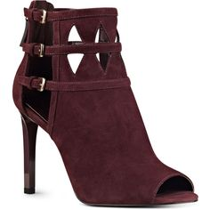 Nine West Laulani Peep Toe Booties ($49) ❤ liked on Polyvore featuring shoes, boots, ankle booties, heels, wine suede, cutout booties, peep-toe booties, cut out heel booties, heeled boots and cut out ankle booties