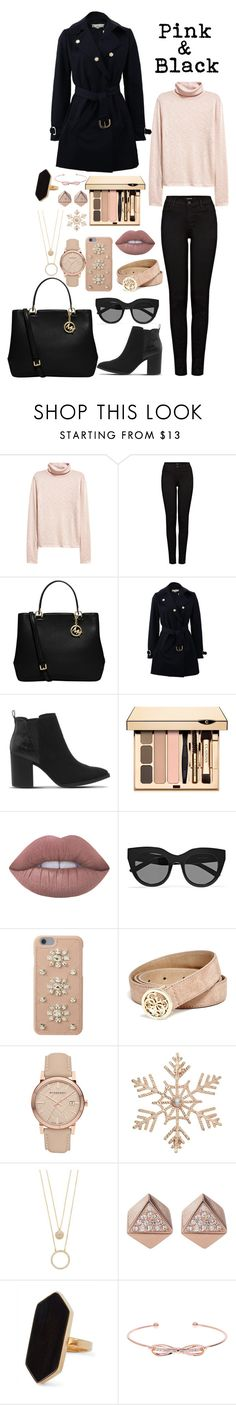 """""""Pink & black"""" by gorlmoria on Polyvore featuring J Brand, MICHAEL Michael Kors, STELLA McCARTNEY, Office, Lime Crime, Le Specs, GUESS, Burberry, John Lewis and Kate Spade"""