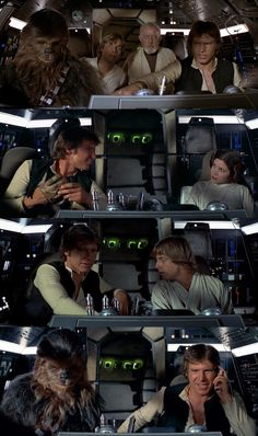 Falcon's cockpit in A New Hope Star Wars Cast, Star Trek, Han And Leia, Millenium Falcon, Star Wars Wallpaper, Original Trilogy, Star War 3, Harrison Ford, A New Hope