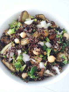 Grilled eggplant, chickpea, dried bannana, passionfruit marinated tuna, broccoli, fennel, kale and quinoa