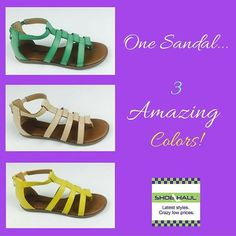One sandal, 3 amazing colors! IN STOCK NOW. #shoes #sandals #WPB #shoehaulstore #florida