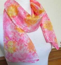 Marigolds Hand Dyed Silk Scarf Abstract Yellow by RosyDaysScarves, $32.00