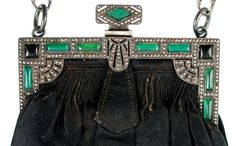 Deco purse with marcasite and glass insets in green and onyx.