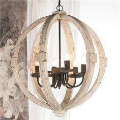 """White Washed Wood Sphere Chandelier 26""""H x 22.5"""" W $525"""