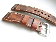 Vintage Brown Watch Strap Natural Leather 24mm