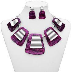 Geometric Acrylic Necklace Earrings Set Purple