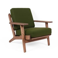 Mid-Century Modern Reproduction GE 290 Plank Chair - Green Inspired by Hans Wegner
