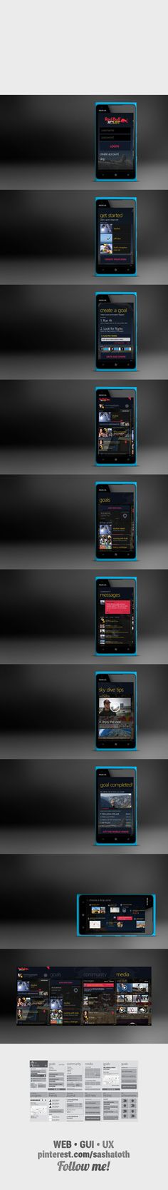 "Nokia & RedBull - Hitlist *** ""Pitch work for an original app on Windows Metro for a partnership between Nokia and RedBull."" by Alexandre Lacerda, via Behance * #windowsphone #nokia #gui #redbull #behance"