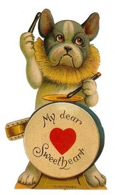 Vintage Valentine Day Cards And Collectibles - I Vintage Antique Online Dogs Drummer My Dear Sweetheart words on drum kit set drumming drumsticks dogs paws,