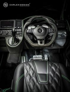 The British branch of Carlex Design, one of Europe's finest car interior specialist, has come up with a special treatment for the VW van. Volkswagen Transporter, Vw Bus, Vw T5 Interior, Affordable Luxury Cars, Caddy Van, Project Management Professional, Weird Cars, Cute Cars, Camper Van