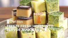 Frozen Flavor Nuggets. This simple trick has 2 benefits: First, you no longer have to guiltily trash leftover fresh herbs that you grew in your garden or bought at Whole Foods for a gazillion dollars. Second, you wind up w/ a little nugget of herby-fatty flavor that you can toss into the bag w/ your sous vide steak, melt over fresh pasta or soup, fold into eggs, & so on & so forth. Just chop up some herbs—Thai basil, mint, sage, fenugreek, rosemary, whatever. You could even mix 'em up to…