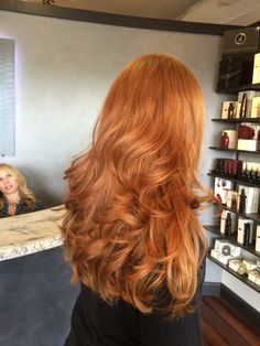 Beautiful long thick natural red head. Haircut by Angela Rose