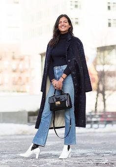 Street style, Lisa Jones, high-waisted jeans, fashion week FW 2015 / Garance Doré