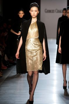 George Chakra Couture Fall -Winter 2015 gold dress with black coat