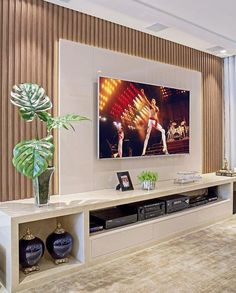 A imagem pode conter: planta e área interna Home Room Design, House Design, Home Living Room, Living Room Decor, Tv Wanddekor, Tv Wall Cabinets, Living Room Tv Unit Designs, Tv Unit Furniture, Modern Tv Wall Units