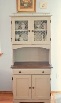 DIY Kitchen cabinet from a junk store buy!DIY Kitchen cabinet from a junk store buy!I love this idea. I would need to run an electric outlet to that one wall but I . Kitchen Hutch, Diy Kitchen Cabinets, Kitchen Decor, Kitchen Design, Kitchen Storage, Buy Kitchen, Kitchen Cart, Bar Hutch, China Cabinets
