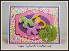 Cute Balloon Animal birthday card using Kaleidoscope paper and Artistry cart by Close To My Heart. www.craftysisterscreations.com