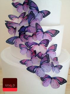 COMPRA 40 consigue 4 FREE - pastel de boda de decoración - mariposas comestible cake toppers - púrpura violeta pastel comestible por Uniqdots en Etsy