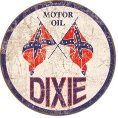 Dixie Motor Oil Round Tin Sign