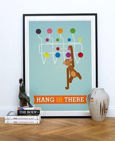 Eames hang it all, Danish design Eames Kay Bojesen monkey poster Mid by handz