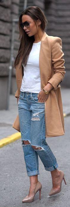 calça boyfriend + casaco marrom