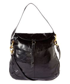 Black Kane Leather Shoulder Bag #zulily #zulilyfinds
