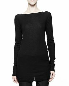 Boat-Neck Knit Top, Black by Rick Owens at Neiman Marcus.