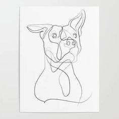 dog sketch Pitbull Dog Line Art Poster by birdlines Pitbull Tattoo, Pitbull Drawing, Tatoo Dog, Dog Line Drawing, Dog Line Art, Dog Tattoos, Dog Art, Dog Drawing Simple, Animal Line Drawings