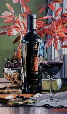 newest original by Eric Christensen & Artist Gayle painting at gallery. Justin Time, Wine Painting, Wine Art, Instagram Story Ideas, Still Life Photography, Red Wine, Watercolor Paintings, Wine Glass, Gallery