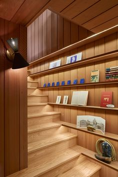 Mid-Century Modern Renovation by Koch Architects « HomeAdore Stair Wall Decor, Stair Walls, Wood Stairs, Stair Shelves, Stair Storage, Book Storage, Storage Ideas, Shelving, Storage Room