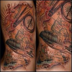 Vintage compass with old world map in the back ground by michael brilliant map tattoo with feather and compass gumiabroncs Images