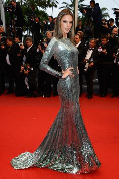 Alessandra Ambrosio took Cannes by storm in this floor-length sparkly number.