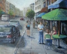 """Daily+Paintworks+-+""""Street+Cafe""""+-+Original+Fine+Art+for+Sale+-+©+Peter+Lee"""