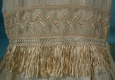 """c. 1910/1911 Ecru """"Artificial Silk"""" Fringe, Beaded and Lace Trained Wedding Gown"""
