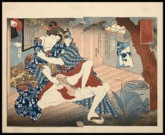 'Intimate couple sitting on a verandah' by Utagawa Kunimori II. You can check out exciting details on this charming sensual design by clicking the image now. Japanese Mask, Japanese Geisha, Vintage Japanese, Greek Paintings, Geisha Art, Exotic Art, Oriental, Japanese Painting, Japanese Prints