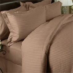 Egyptian Cotton Duvet Cover Mocha Stripe 1000 Thread Count