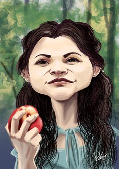 Ginnifer Goodwin as Snow White in #onceuponatime - caricature by Ribosio