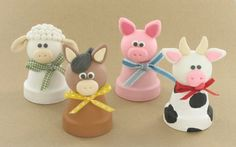 Farm animals made with Pluffy clay and mini flower pots. My daughter would LOVE these!