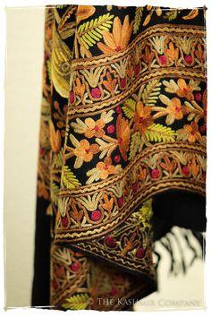 Amaryllis Garden Black Kashmir Shawl — Seasons by The Kashmir Company