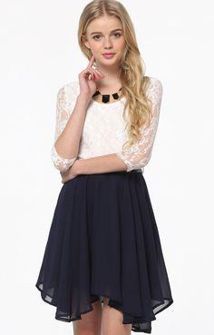 Vestido combinado encaje con cinturón-Marino&Blanco EUR€23.89