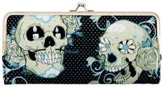 Sugar Skull Wallet with mustache! Polka dot, blue, black, awesomeness! www.shopftgs.com