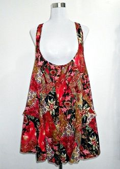 SOLD OUT: vintage jumper/pinafore dress or tent dress in red Indian chintz & paisley prints (1960-1970s Hippie/Bohemian)