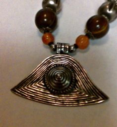 Tribal Look Silver Pendant with agate and silver beads 10 1/2 Inch long necklace #Pendant