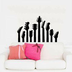 Wall Decal Vinyl Sticker Decals Art Home Decor Mural Guitar Electro Jazz Musical Instrument Guitars Recording Studio Bedroom Dorm