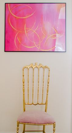 Two One Nine: Kitchen Tour- love that chair! #gold #pink
