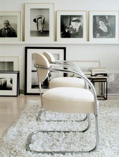 white, chairs, furniture, living space, interior, design, via Sacramento Street
