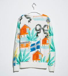 Illustration pattern graphic sweater